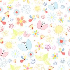 summer pattern of flowers and butterflies