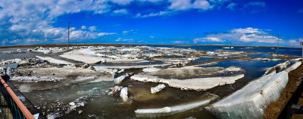 Panorama vanishing ice in the river