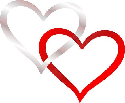 zwei Herzen verschlungen silber und rot