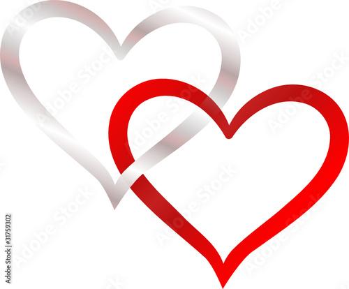 Zwei Herzen Verschlungen Silber Und Rot Stockfotos Und Lizenzfreie