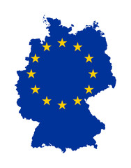 EU flag on map of Germany