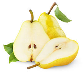 Isolated pears. Yellow pear fruits, one whole and one cut in halves isolated on white background