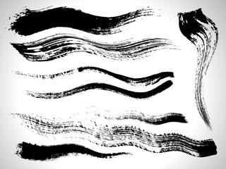 vector ink brush strokes set