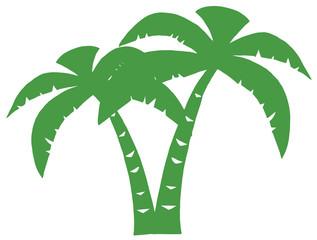 Green Palms Three Silhouette