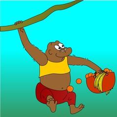 gorilla and fruit