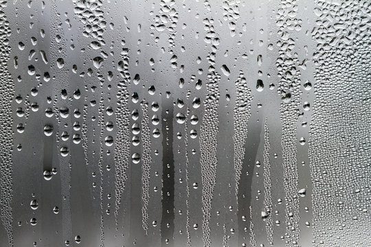 Water droplets on a glass surface