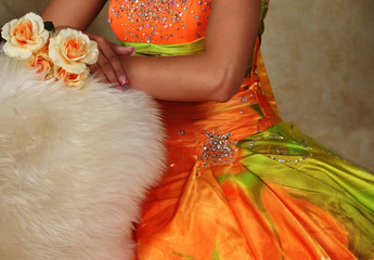 Teen Girl and Prom Dress and Flowers