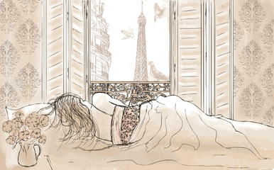 Zelfklevend Fotobehang Illustratie Parijs woman sleeping in Paris