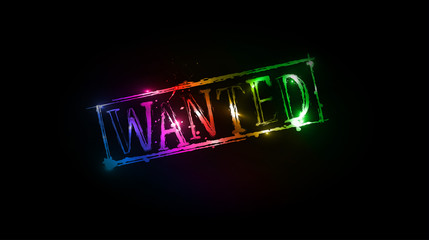 wanted grunge colorful text