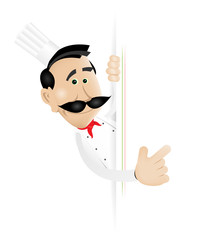 Chef Cook Holding Blank Sign