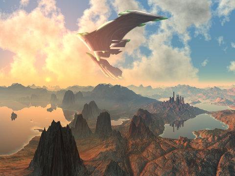Huge Spaceship over Alien Landscape