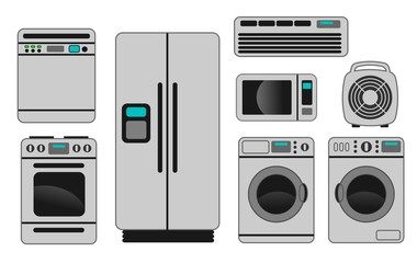 illustration of different home appliances on white background