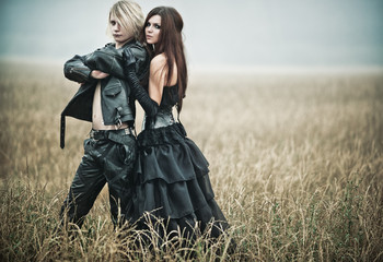 Young goth couple portrait