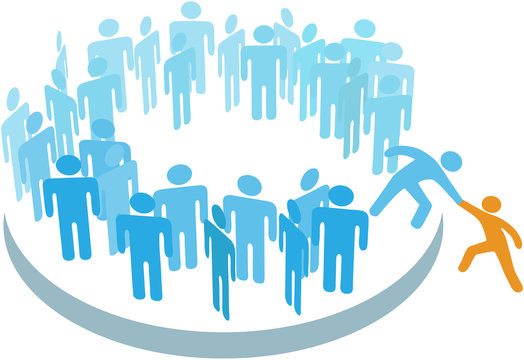 People help new member join large group