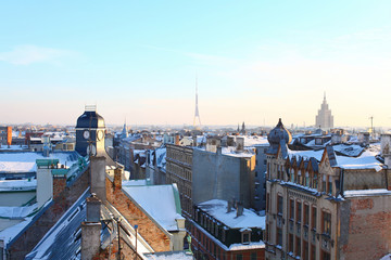 Unusual view from the roof of Old and modern Riga, Latvia
