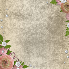 vintage background with roses, pearls