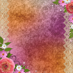 vintage orange with purple  background with flowers and lace