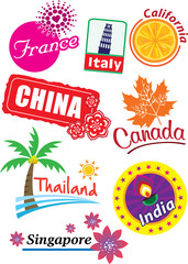 Stock Vector Illustration: Country sticker