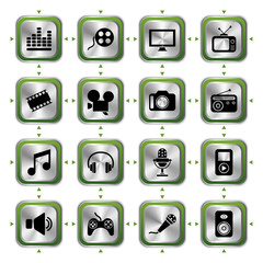 Multimedia icons set HL