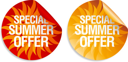 Special summer offer stickers.