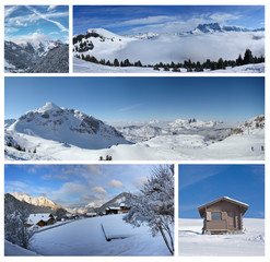 Mountain collage lanscape covered by snow (alp france)
