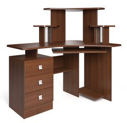 Isolated wood desk.