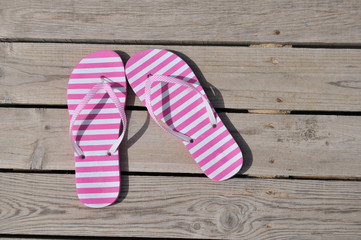 Striped pink sandals