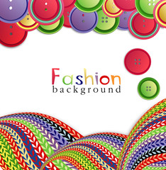 fashion background with knitting and buttons