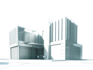 White modern building rendering