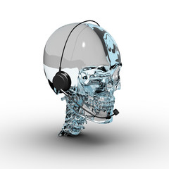 Glass Skull with Headphone