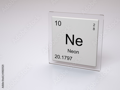 Neon Symbol Ne Chemical Element Of The Periodic Table Stock