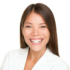 Ethnic asian business person woman smiling