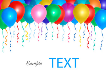Balloons frame composition with space for your text. Vector