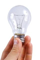 bulb lamp in mans hands