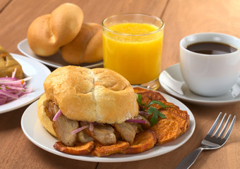 Typical Peruvian breakfast with Pan con Chicharron