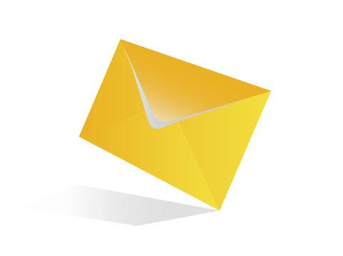 Yellow envelope on a white background