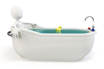 3d man taking a bath with a swimming duck