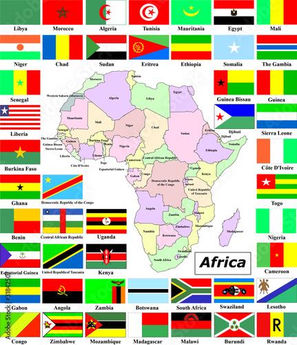 Africa mappe e bandiere immagini e vettoriali royalty - Bandiere bianche a colori ...