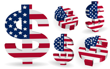 3D American US dollar sign with USA flag