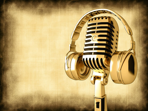 Microphone with headphones on old background