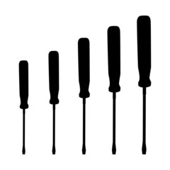 set of screwdrivers tool - silhouette illustration