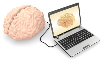 A Computer connected to a human brain