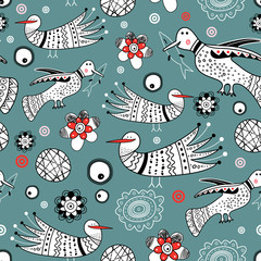 graphic pattern of ornamental birds