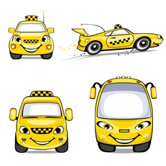 Yellow cars of a taxi
