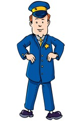 Cartoon policeman with hands on hips
