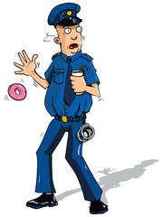 Cartoon policeman surpised by something