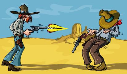 Aluminium Prints Wild West Cartoon cowboy shootout