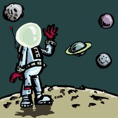Garden Poster Cosmos Cartoon astronaut in a space suit