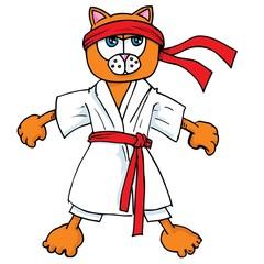 Cartoon cat in karate outfit