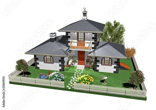 Villa casa con giardino house with garden 3d immagini e for Giardino 3d gratis italiano